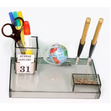 Acrylic Rasper Multipurpose Acrylic Desk Organizer With Pen Stand And Rotating Globe