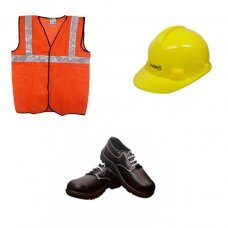 Safari Safety Kit 1: Safety Shoes, Yellow Helmet, Orange Reflective Jacket