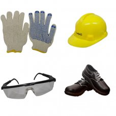 Safari Safety Kit 4: Safety Shoes, Yellow Helmet, Dotted Safety Gloves, Clear Lens Safety Eyewear