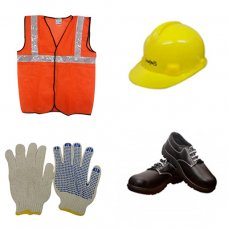 Safari Safety Kit 6: Safety Shoes, Yellow Helmet, Dotted Safety Gloves, Orange Reflective Jacket