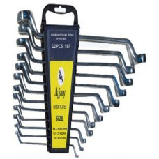Ajay Bihexagonal Ring Spanner Shallow Offset A-102 12 Pieces Set in Pouch (AJRS/12T)