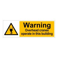 Clickforsign Reflective Warning Overhead Cranes Operate In This Building Sticker, WS-2