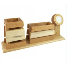 Radius Towering Clock Wooden Desk Organizer